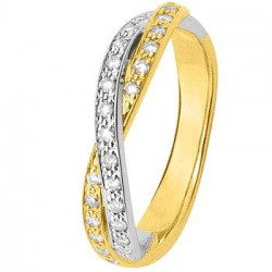Alliance de mariage Or jaune, Or blanc et diamants - 11770694B - Boutique Alliance