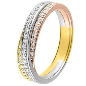 Alliance Or jaune Diamant - Alliance de mariage 3 Ors...