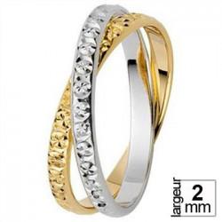 Alliance Bicolore avec deux anneaux finement taillés
