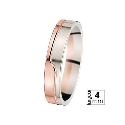 Alliance de mariage en Or blanc et Or rose - 07030969B