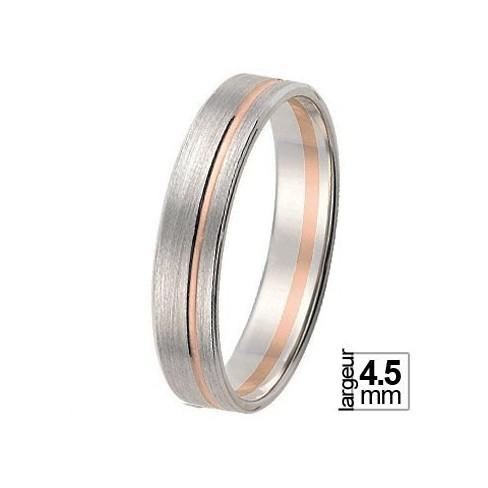 Alliance de mariage Or blanc 750ème avec liseret Or rose