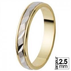 Alliance bicolore avec leger relief en Or blanc - 06023416