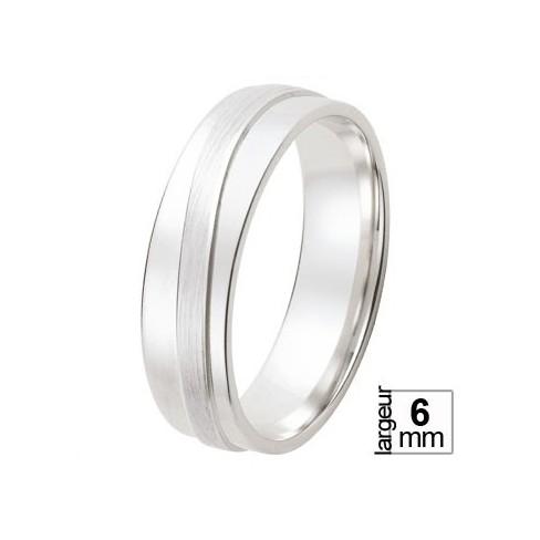 Alliance de mariage Or blanc poli avec partie surélevée satinée circulaire