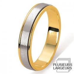 Alliance de mariage Or jaune 750 & Platine