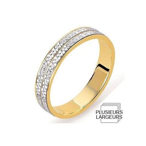 Alliance Or jaune avec Platine diamanté - 04030978K