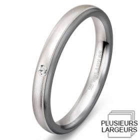Alliance Diamant Or blanc - Alliance de mariage Or blanc Or gris et Diamant