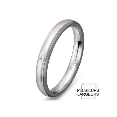 Alliance de mariage Or blanc Or gris et Diamant