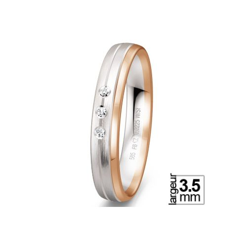 Alliance de mariage 2 Ors 585 Diamant