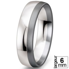 Black & white - Alliance de mariage Or blanc 585