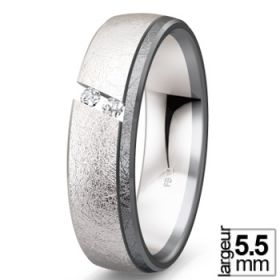 Black & white - Alliance de mariage Or blanc 585 Diamant