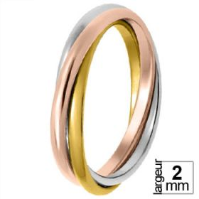 Alliance femme Or jaune - Alliance de mariage entrelacée 3 Ors