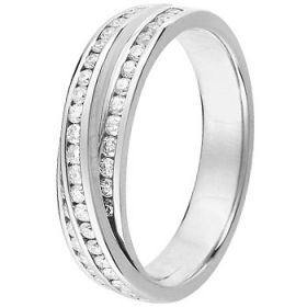 Alliance Diamant Or blanc - Alliance de mariage Or blanc 750 Diamant