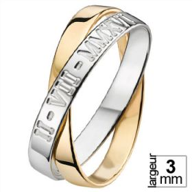 Alliance femme Or jaune - Alliance de mariage 2 anneaux romaine 2 Ors