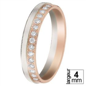 Alliance femme originale - Alliance de mariage 2 Ors Diamant