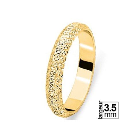 Jolie alliance de mariage femme éclatante Or jaune et effet diamanté