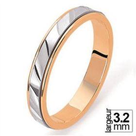 Alliance de mariage 2 Ors 750 3,2 mm