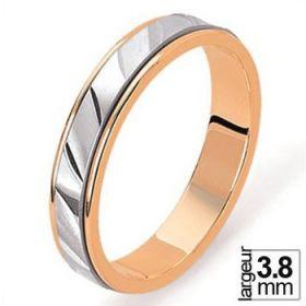 Alliance de mariage 2 Ors 750 3,8 mm