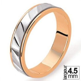 Alliance de mariage 2 Ors 750 4,5 mm