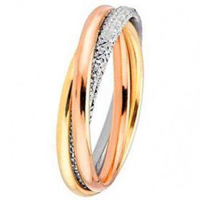Les diamantées - Alliance de mariage entrelacée 3 Ors 750