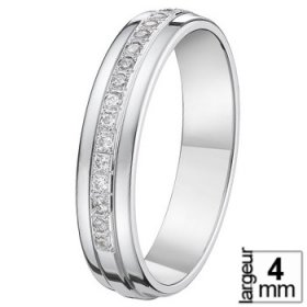 Alliance Or blanc femme - Alliance Or blanc Diamant