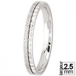 Alliance de mariage Or blanc diamantée et motifs chocolat