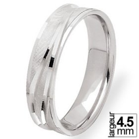 Alliance femme originale - Alliance de mariage Or blanc 4,5 mm de largeur