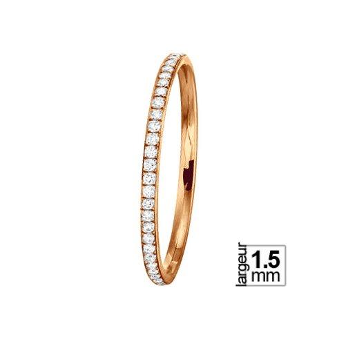 Alliance de mariage Or rose et Diamant largeur 1,5 mm
