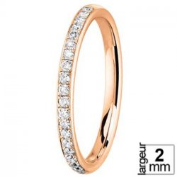 Alliance de mariage Or rose et Diamant, largeur 2 mm