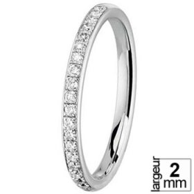 Alliance femme - Alliance de mariage en Or blanc et Diamant de 2 mm de largeur