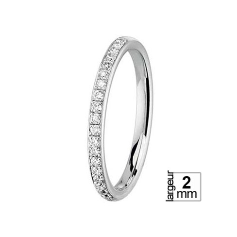 Alliance de mariage en Or blanc et Diamant de 2 mm de largeur