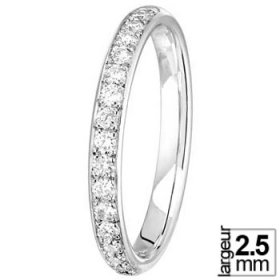 Alliance Diamant Or blanc - Alliance de mariage Or blanc et Diamant largeur 2,5 mm