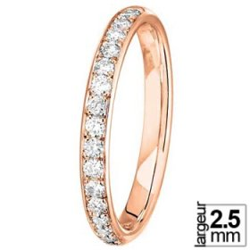 Alliance Diamant tour complet - Alliance de mariage Or rose et Diamant
