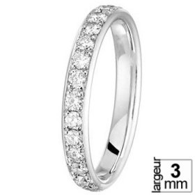 Alliance Diamant Or blanc - Alliance de mariage Or blanc et Diamant de 3 mm  de largeur