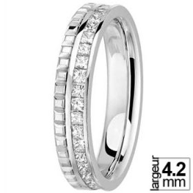 Alliance femme - Alliance Or blanc et Diamants princesse