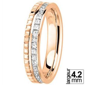 Alliance femme originale - Alliance Or rose et Diamant Princesse