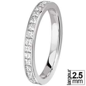 Alliance Diamant - Alliance Or blanc Diamant Princesse