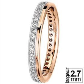 Alliance femme - Alliance de mariage Platine, Or rose et Diamant tour complet