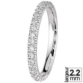 Alliance Diamant - Alliance femme Or blanc Diamant tour complet