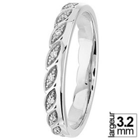 Alliance Diamant Or blanc - Alliance femme Diamant