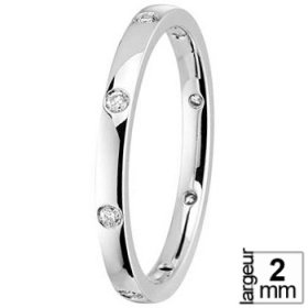Alliance femme - Alliance Or blanc Diamant
