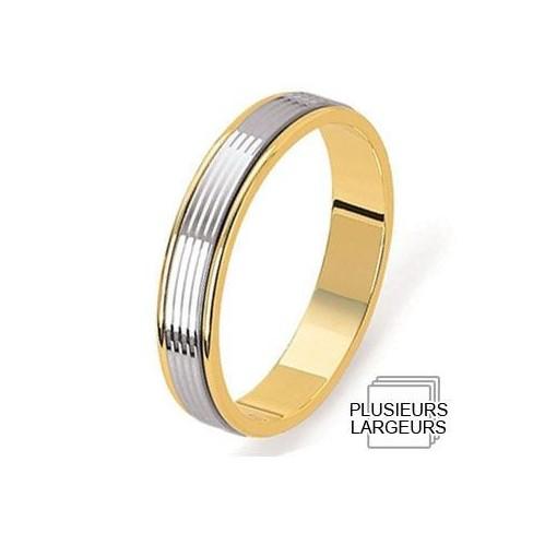 Alliance Or jaune avec anneau platine lapidé - 04031121K