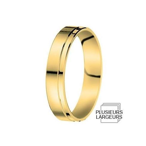 Alliance Or jaune avec liseret excentré - 07030802J - Boutique Alliance