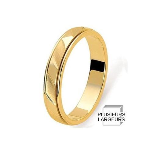 Alliance Or jaune deux anneaux incrustés - 04030099J - Boutique Alliance
