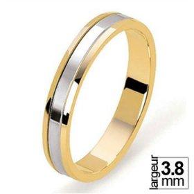 Alliance de mariage 2 Ors largeur 3,8 mm