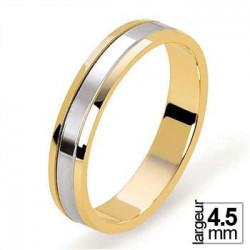 Alliance de mariage 2 Ors largeur 4,5 mm