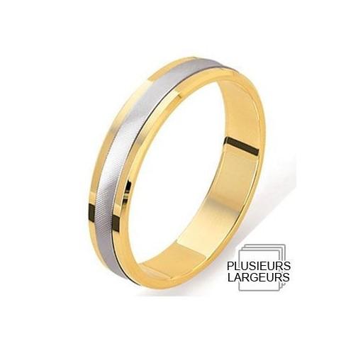 Alliance Platine et Or jaune finement taillée - 04030607K