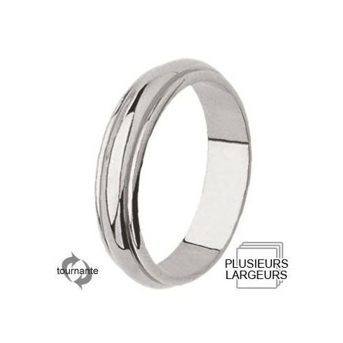 Alliance Or blanc anneau central bombé - 04031014G