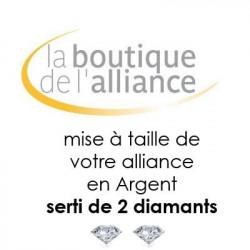Mise à taille d'alliance de mariage en Argent serti de 2 diamants- MAT2990