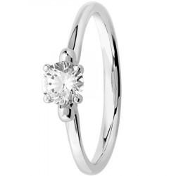 Bague solitaire diamant rond serti 4 griffes en Platine