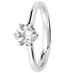 Bague solitaire diamant serti 6 griffes en Platine